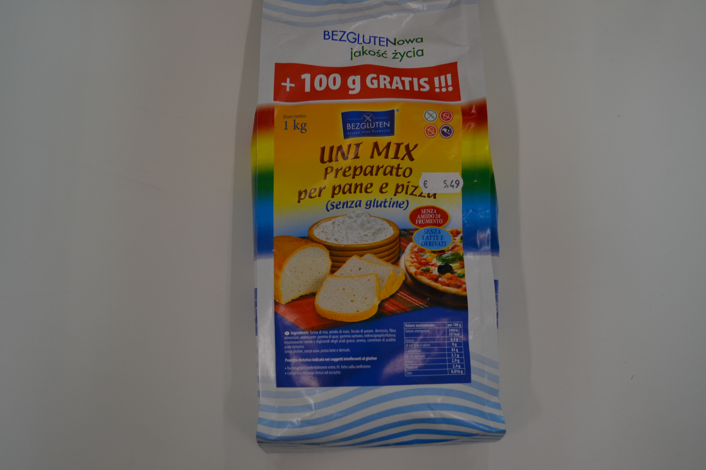Uni mix preparato per pane e pizza BEZGLUTEN € 5,49