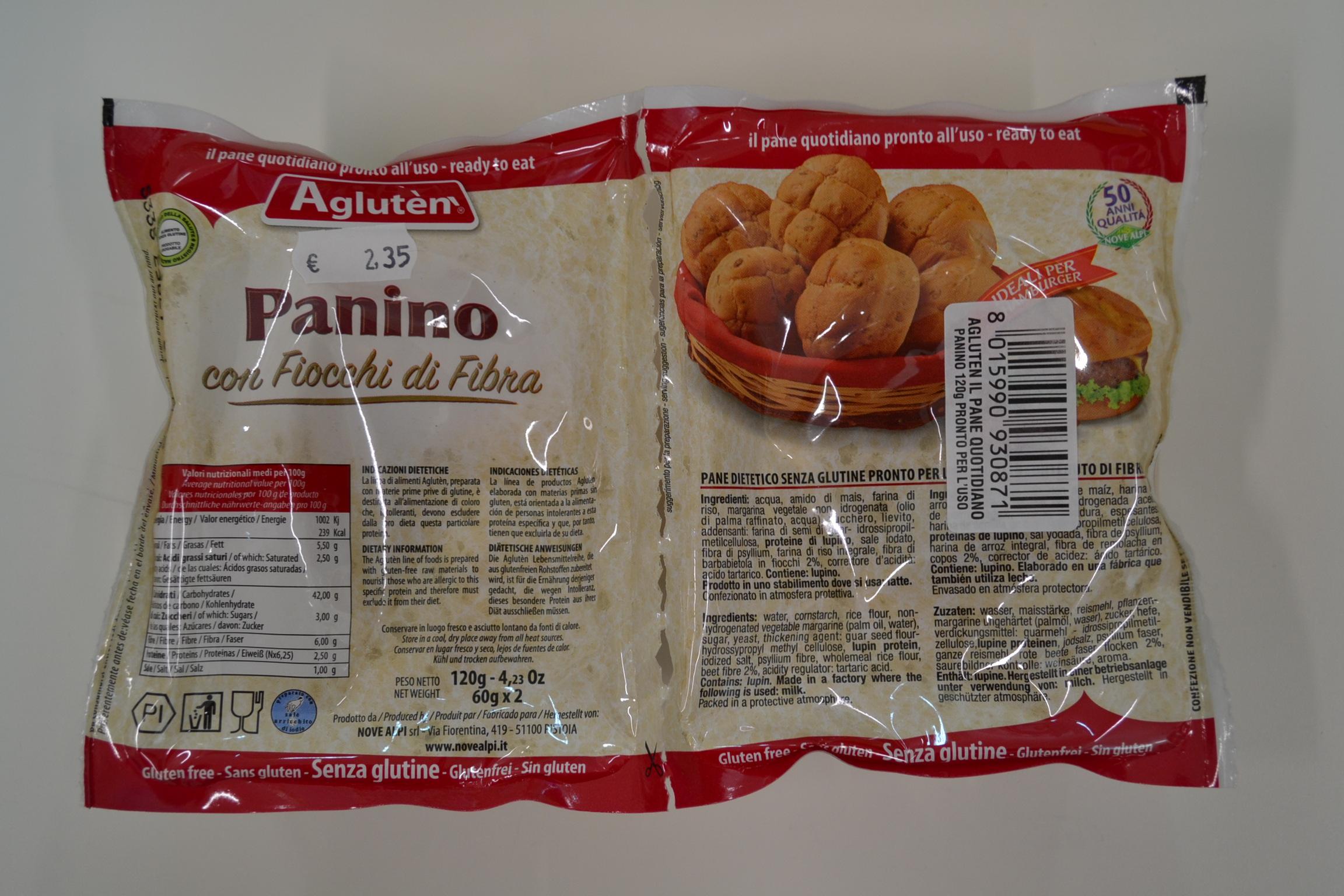 Panino con fiocchi di fibra AGLUTEN € 2,35
