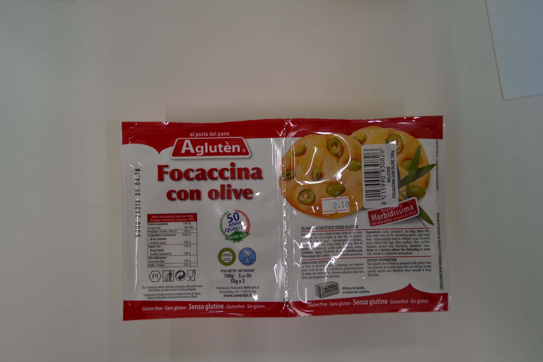 Focaccina con olive AGLUTEN € 2,49