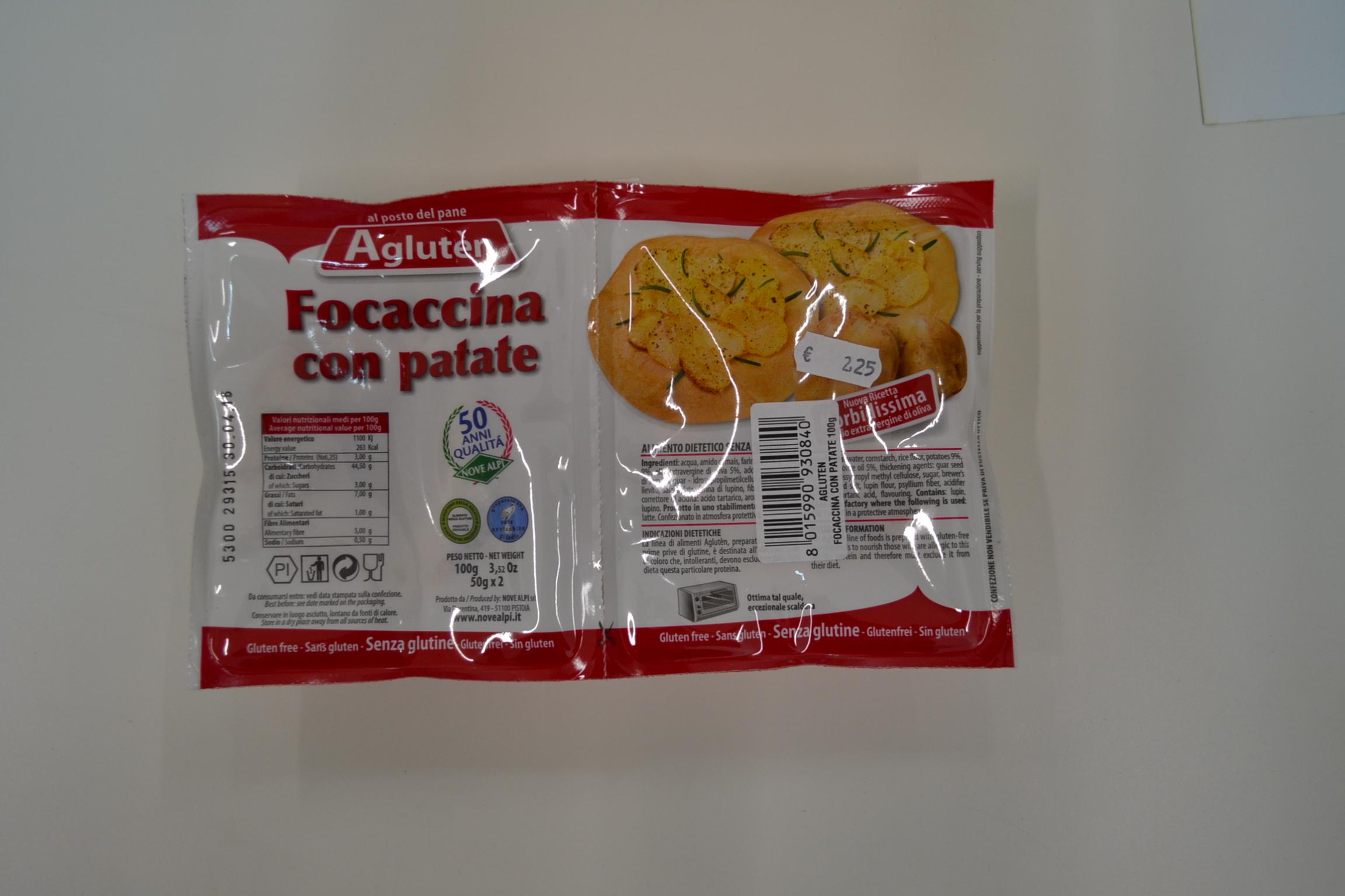 Focaccina con patate AGLUTEN € 2,25