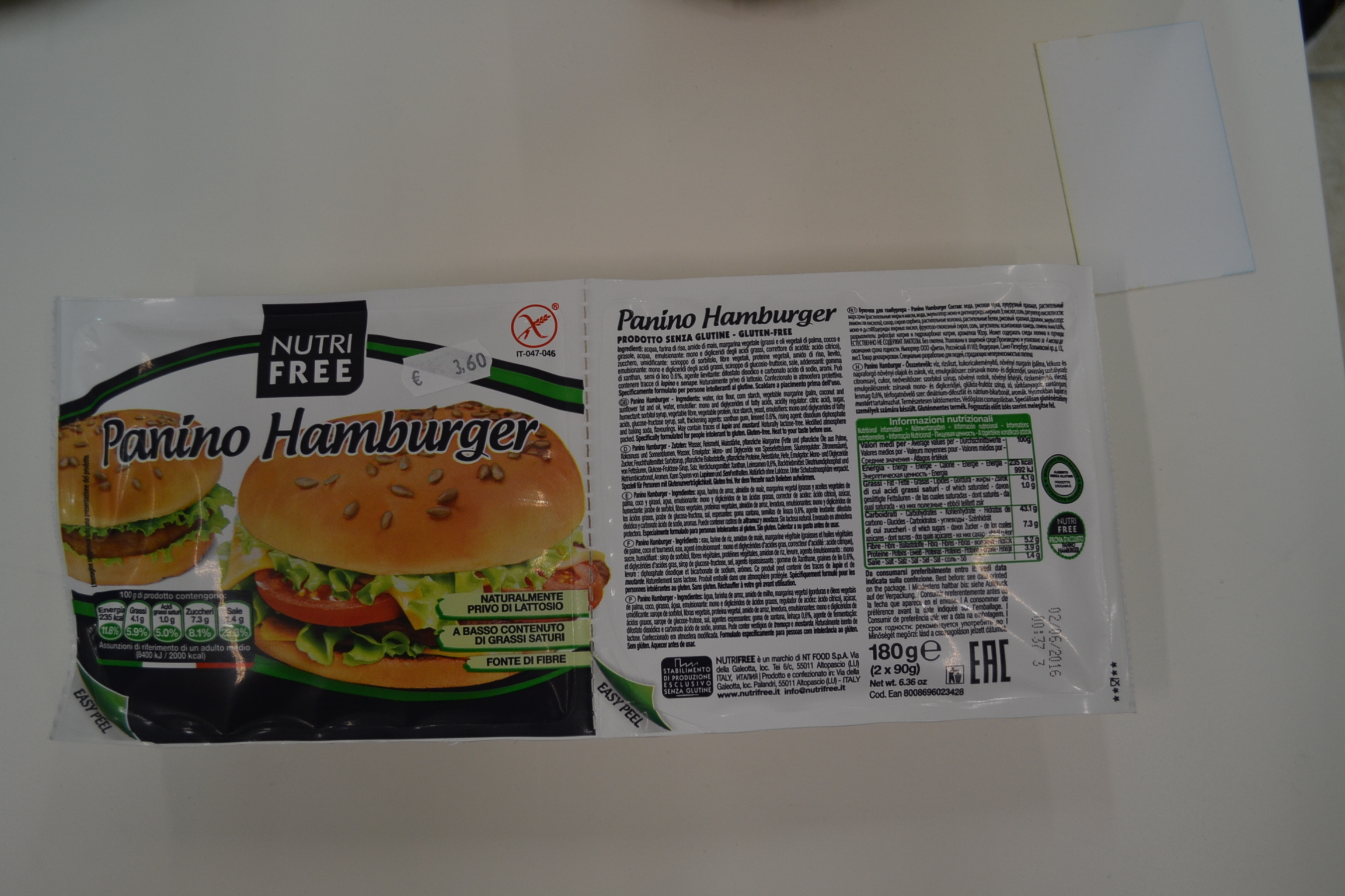Panino hamburger NUTRIFREE € 3,60