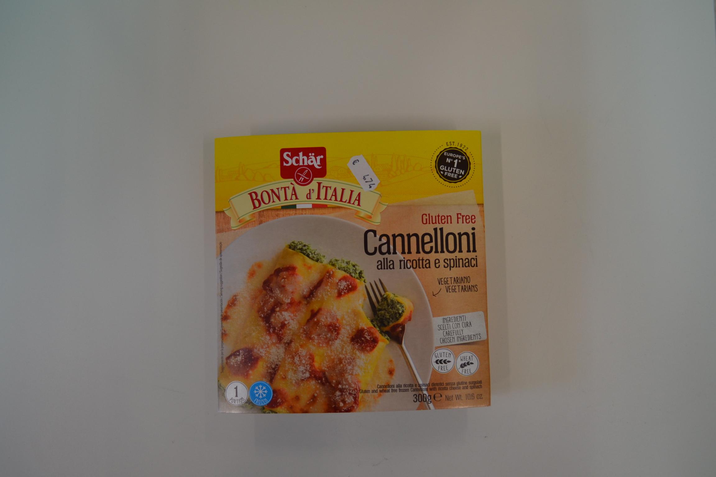 """Cannelloni alla ricotta e spinaci SCHAR € 4,74    """"PRODOTTO SURGELATO"""""""